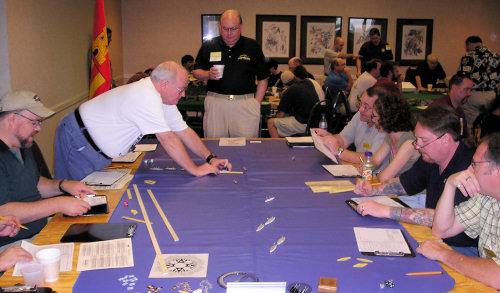 A naval wargame in progress at Historicon 2005