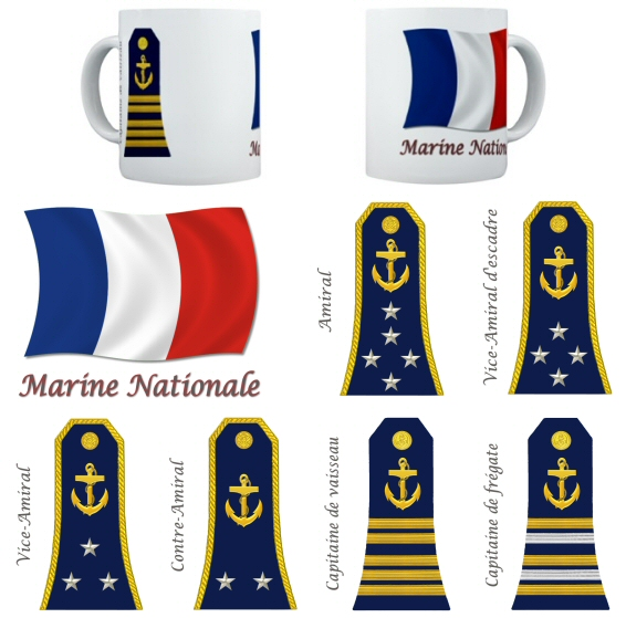 French Navy Marine Nationale Rank Mugs