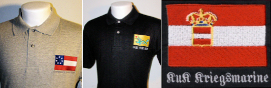 Embroidered Naval Flag Polo Shirts