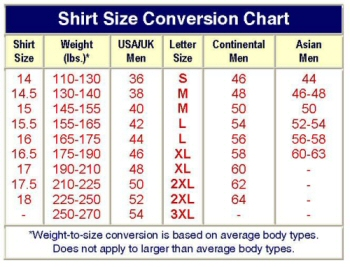 Us shirt size chart conversion sweater tunic for Us shirt size chart